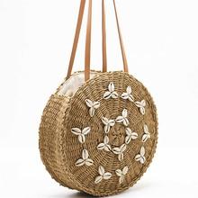 Summer Ladies Handbags Round Shell Hand-Woven Straw Bag Bohemian Travel Vacation Beach Bag Fashion Shopping Ladies Shoulder Bags