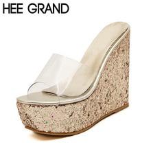 HEE GRAND High Heel Wedge Platform Slippers Woman Summer Slides Fashion Glitter Sole Transparent Upper Shoes Woman  34-40 XWT430