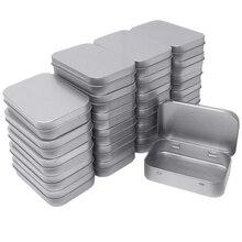 CHFL 24 Pack Metal Rectangular Empty Hinged Tins Box Contain