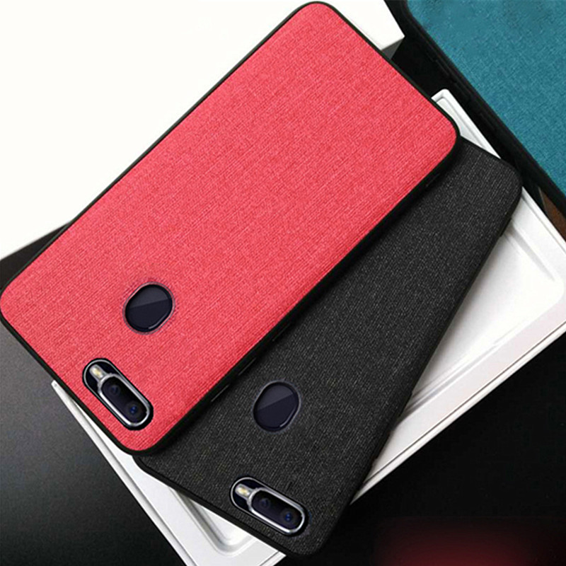 For OPPO A7 2018 Case A7X back cover Luxury Soft Silicone fabric Cloth Protective Shockproof Cove FOR OPPO A7 A 7 X Capa in Fitted Cases from Cellphones Telecommunications