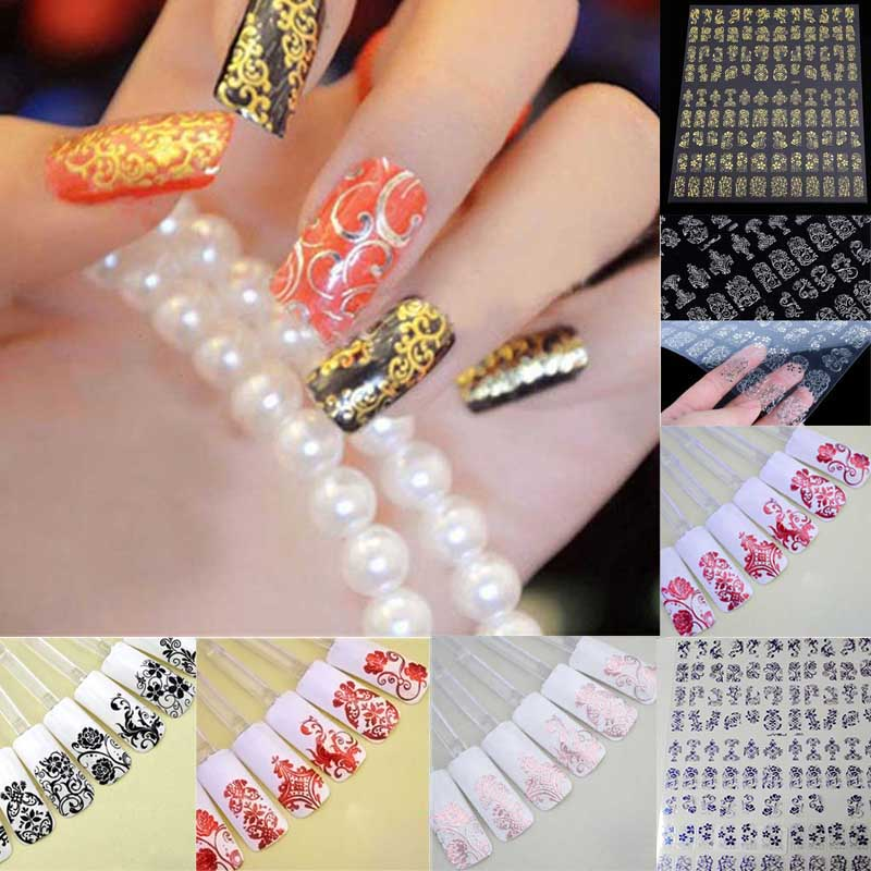 108pcs/1 Sheet Fashion Women Beauty Flower Nail Stickers Manicure Decals Stamping French Nail Art 3D DIY Tips Tool 1pcs flower nail art decals new fashion