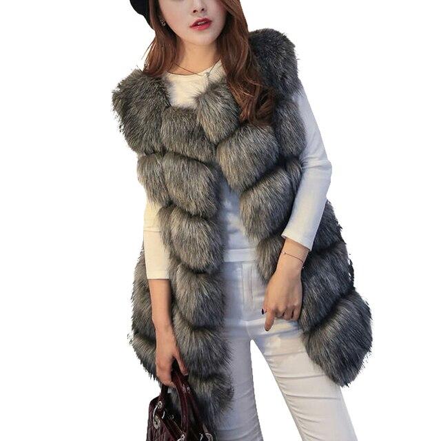2016 Новая Мода Осень Зима Женщины Искусственного Меха Жилет Импорт Всего Peel Fox Меховой Жилет Пальто Женщин Плюс Размер