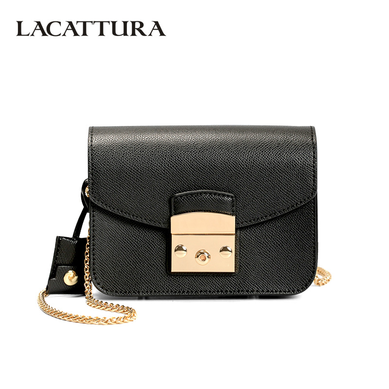 LACATTURA Mini Candy Bag Women Messenger Bags Cowhide Leather Luxury Handbag Lady Chain Shoulder Bag fashion