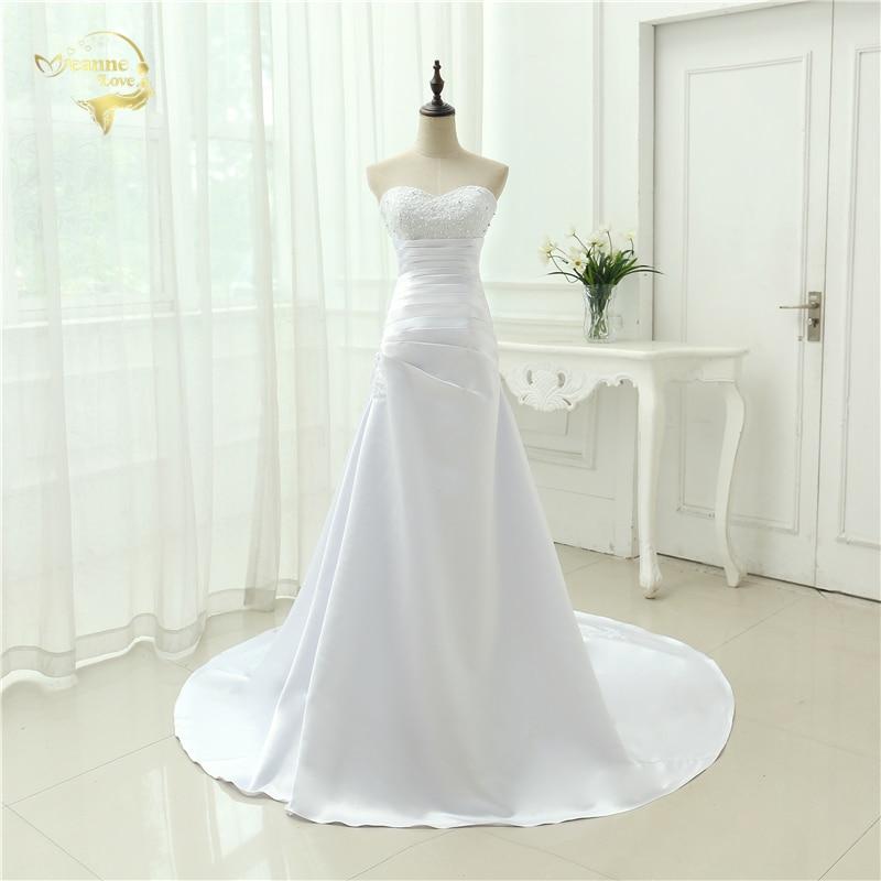 Billiga Plus Size Bröllopsklänning 2019 Beaded Stroplös Bodice En Line Satin Brudklänningar Vestido De Noiva Ny Robe De Mariage OW1019