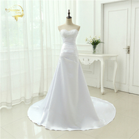 Cheap Plus Size Wedding Dress 2018 Beaded Strapless Bodice A Line Satin Bridal Gowns Vestido De Noiva New Robe De Mariage OW1019