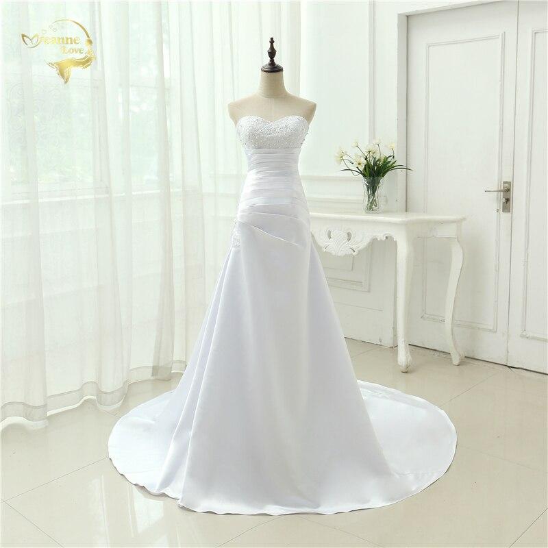 9051d3f2439bd Ucuz Artı Boyutu düğün elbisesi 2019 Boncuklu Straplez Korse Bir Çizgi  Saten gelinlikler Vestido De Noiva Yeni Robe De Mariage OW1019