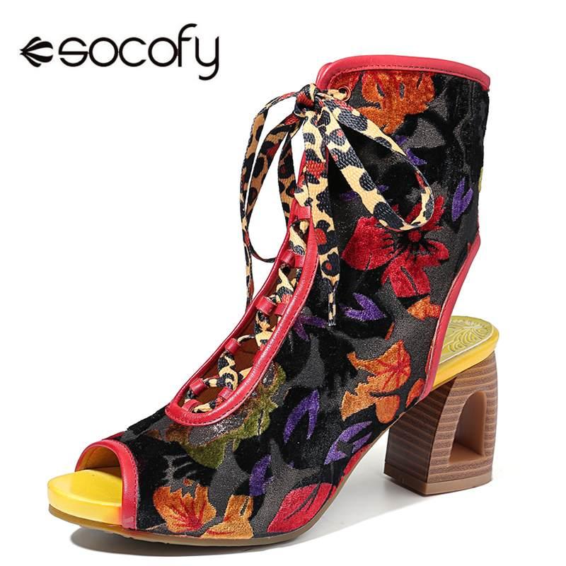 Socofy รองเท้าแตะหนัง Splicing หลอดเลือดดำเสือดาวพิมพ์ลูกไม้ Zipper Peep Toe รองเท้าแตะผู้หญิงรองเท้าฤดูร้อน-ใน รองเท้าบูทหุ้มข้อ จาก รองเท้า บน   1