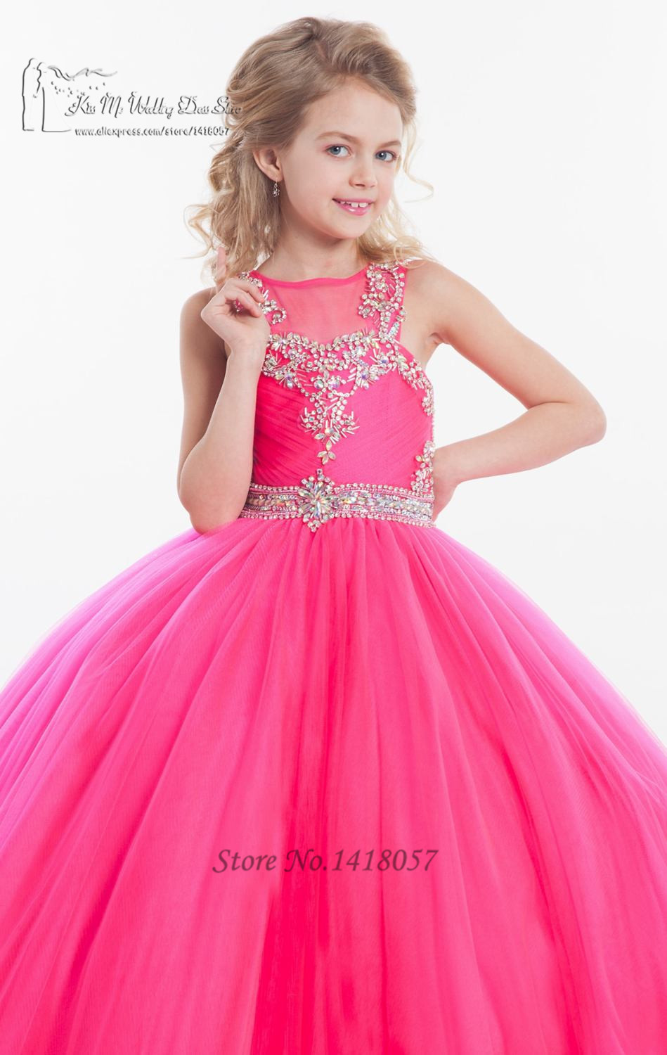 Fushcia Turquoise Girls Pageant Dresses for Weddings Junior ...