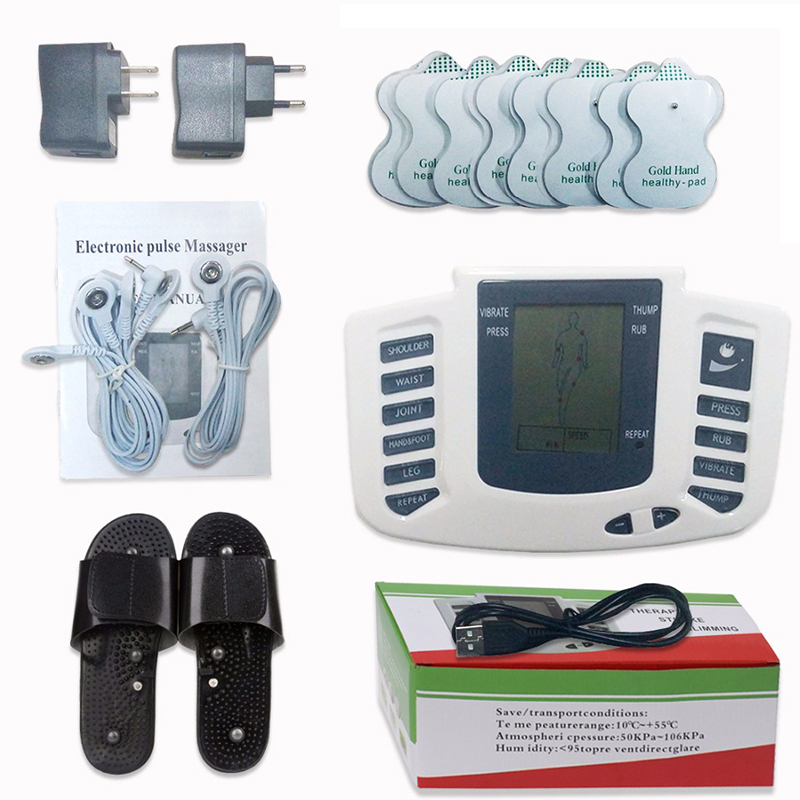 JR-309 Electrical Stimulator Full Body Relax Muscle Digital Massager   ,Pulse tens Acupuncture with therapy slipper+ 8pads