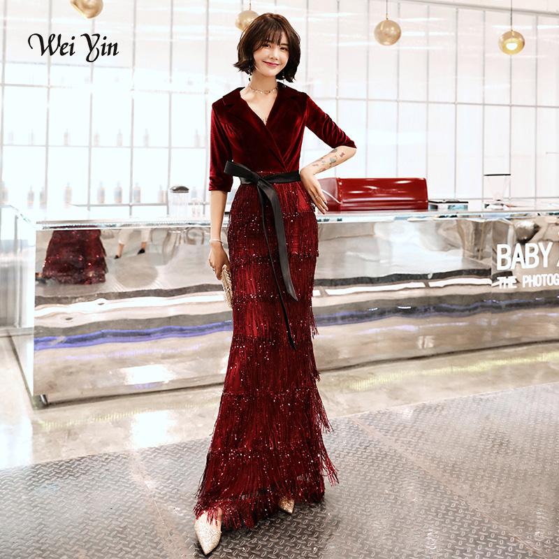 weiyin 2019 Velvet   Evening     Dresses   Long Mermaid V-Neck Formal   Dress   Sequined Abendkleider Women robe de soiree longue WY1259