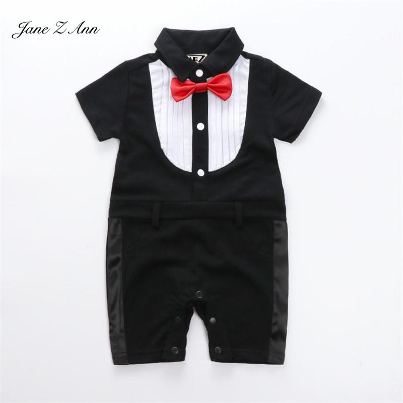 c24f3e77f64 US $15.29 10% OFF Jane Z Ann Baby boy heren jumpsuit 2 types zuigeling  peuter korte mouw strikje party bruiloft verjaardag kostuum baby onesie in  Jane ...