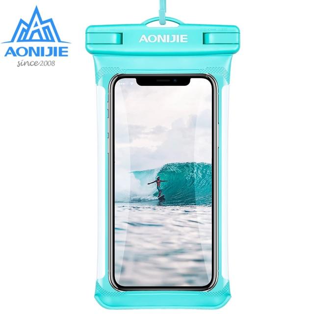 AONIJIE E4103 كامل الشاشة غطاء هاتف مضاد للماء حقيبة جافة غطاء الهاتف المحمول الحقيبة نهر الرحلات السباحة الشاطئ الغوص الانجراف