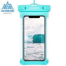AONIJIE sac plein écran à coque de téléphone étanche sec, pochette pour téléphone portable, couvrant la rivière, Trekking, natation, plage, plongée, rafting