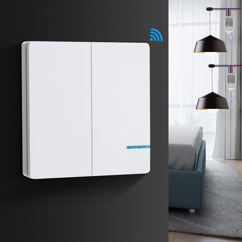 Smernit Wireless light Switch 220v 2-Gang LED Lamp Wall Switch Remote Control Switches Waterproof Touch Push Button Switch smernit wireless switch one gang 220v smart wifi wall switch remote control light switches waterproof touch push button switch