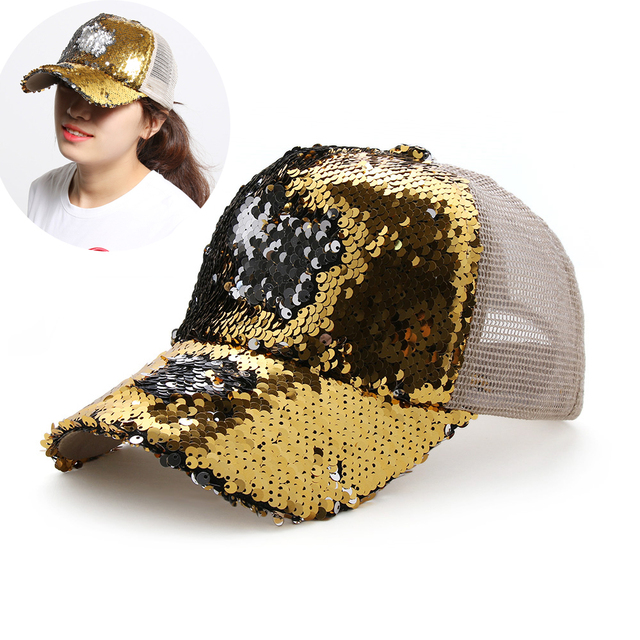 New Women Shiny Sequins Mesh Cap Ponytail Baseball Cap Adjustable Mesh Visor  Sun Hat BlingBling Snapback Cap Sun Cap Summer 5b59182c3c5e