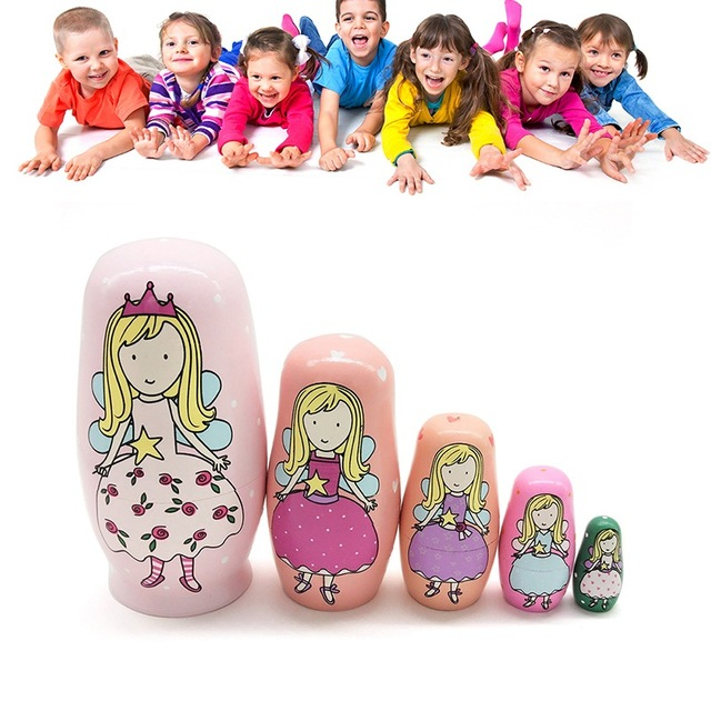 Five-layer Nesting Handmade Russian Cartoon Doll Set Birthday Party Wishing Doll Wooden Toys Home Decoration Early Education 5