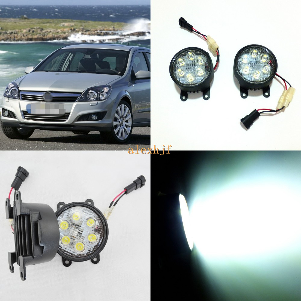 July King 18W 6LEDs H11 LED Fog Lamp Assembly Case for Opel Astra H 2004~2009, 6500K 1260LM LED Daytime Running Lights for opel astra h gtc 2005 15 h11 wiring harness sockets wire connector switch 2 fog lights drl front bumper 5d lens led lamp