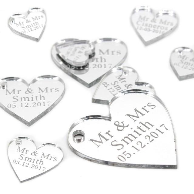 50 יחידות אישית חקוק אקריליק מראה אהבת לב עם חור מתנה תגיות מסיבת חתונת שולחן קונפטי דקור סידורי טובות