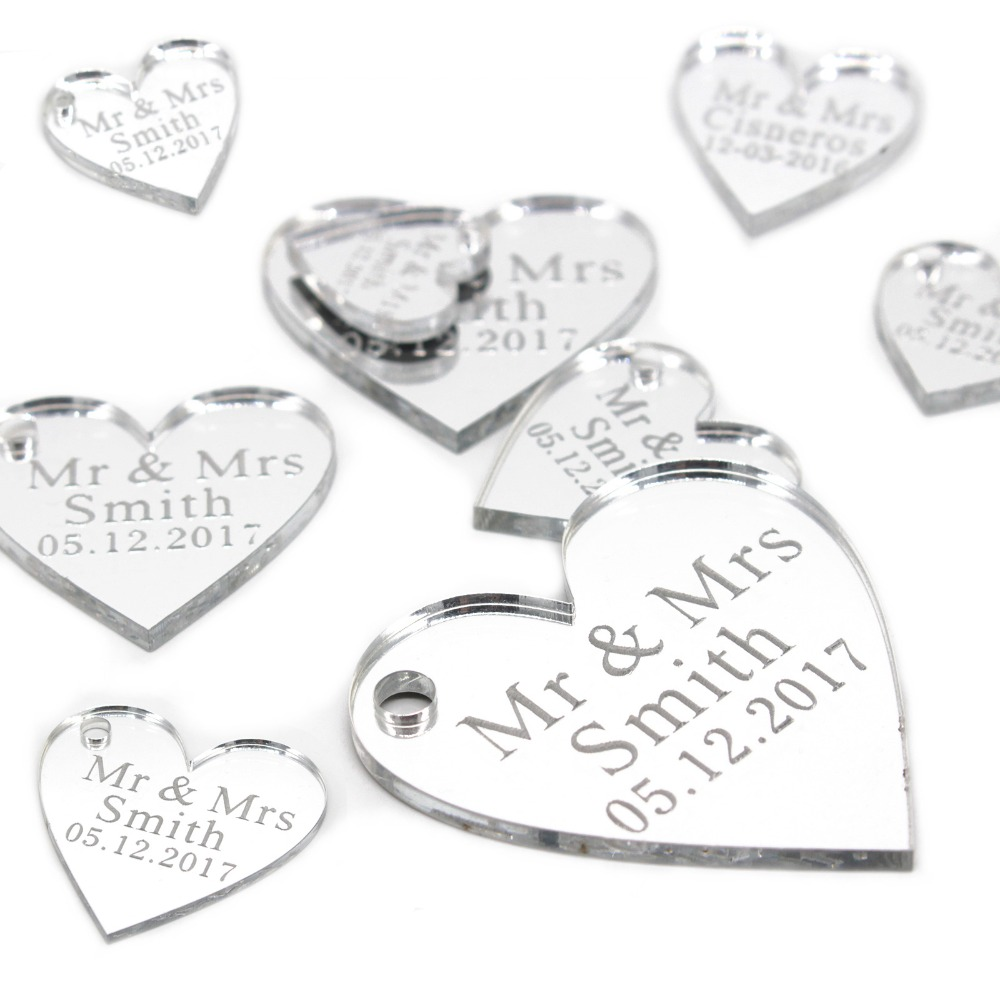 Personalised Wedding Mirror Hearts Table Confetti Decorations Mini Favour