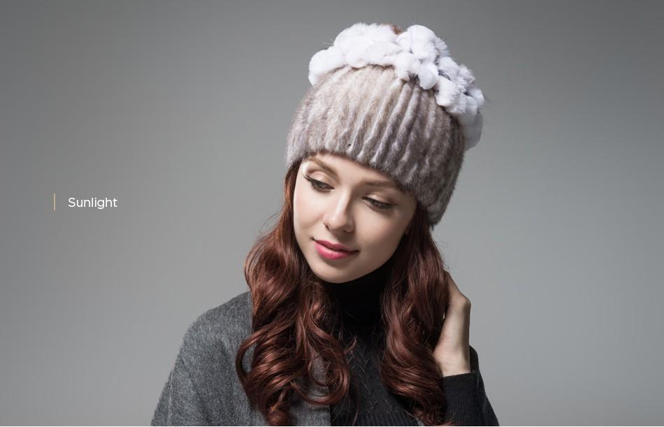 mink fur hats female winter PCM016 (15)