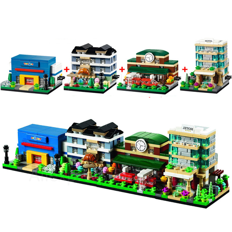 City Series 4pcs/lot Mini Street Scenes View Hotel/Train Station/Bakery Building Blocks Sets Model Bricks Toys for Children ...