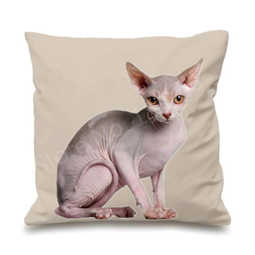 US $14 99  Cute Sphynx Kitten Cat Decorative Cushion Cover Throw Pillow  Case Hairless Sphynx Cat Square Pillows Sham Animal Pet Decor Gifts-in  Cushion