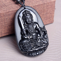 A Frosted Chicken Rabbit Zodiac Manjusri Patron Of Men And Women Diy Real Stone Obsidian Jewelry
