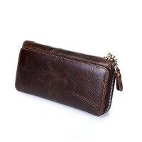 Vintage Men Wallets Genuine Leather Male Purse Business Men Clutch Bag Handbags Cowhide Coffee Zipper Long