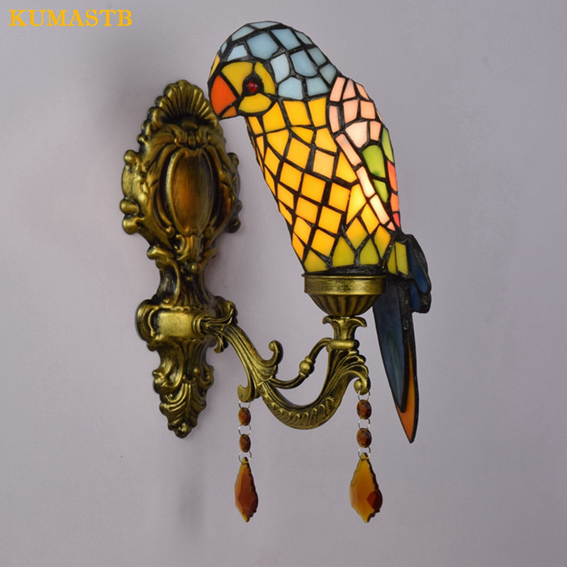 European Tiffany Art Stained Glass Parrot Wall Lamp Lighting Fixture Bar Vintage Wall Sconce Bedroom Wall Light 1 Head/ 2 Heads willlustr fabric wall lamp beige cloth light europe bronze lighting fixture bedside claridge double sconce with linen shade