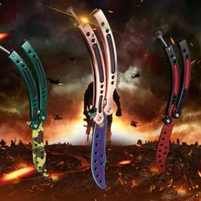 2017 CSGO Stainless Steel knife Butterfly training knife fade cs go counter strike karambit Titanium balisong knife dull tool colorful color game knife dull blade no edge practice butterfly in knife balisong trainer training pocket cs go karambit knife