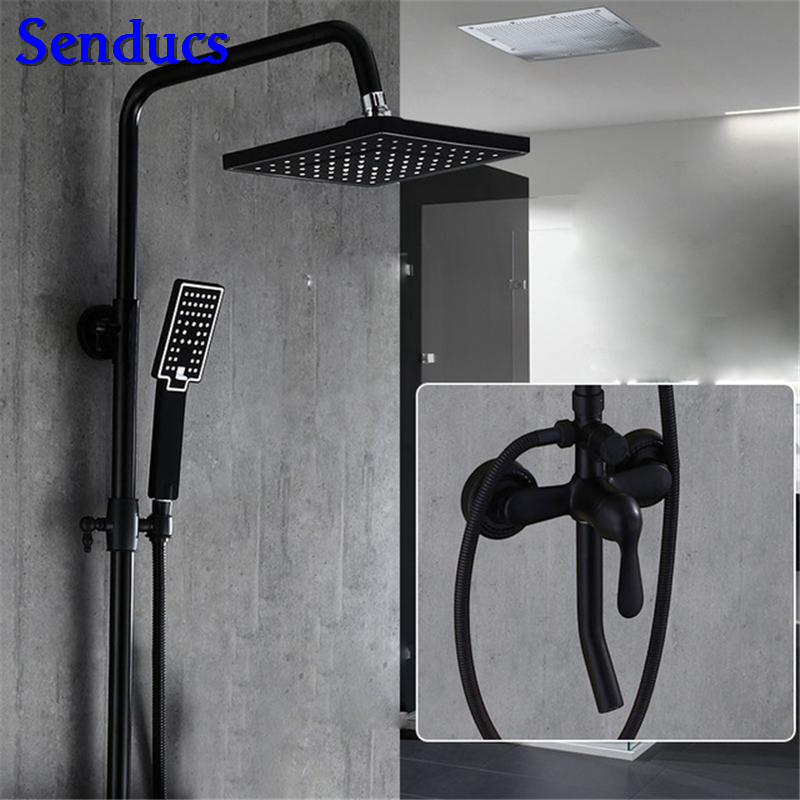 Senducs Black Bronze Shower Set Square Bathroom Top Shower 8 Inch Brass Shower System High Quality Black Bronze Shower SetSenducs Black Bronze Shower Set Square Bathroom Top Shower 8 Inch Brass Shower System High Quality Black Bronze Shower Set
