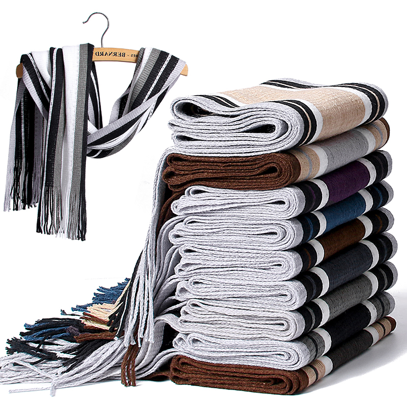 Newest Design Scarf Men Winter Striped Cotton Scarf Casual 180*23CM Women Scarf With Tassels High Quality Warm Knit Scarves