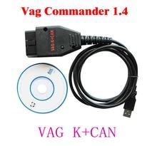 Free Shipping VAG K CAN COMMANDER Full 1.4 vag k + can commander 1.4 OBD2 Diagnostic Cable for VW Serial For Audi Skoda