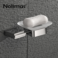 Mirror Polished SUS304 Stainless Steel Wall Mounted Bathroom Soap Dish Holder With Glass Modern Square Bathroom Soap Dish Set