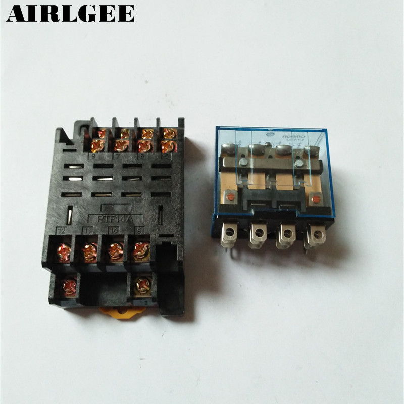 Подробнее о 35mm DIN Rail 12V AC Coil 4PDT 14Pin General Purpose Power Relay LY4NJ w Base  Free Shipping free shipping ac220v 240v coil red led general purpose power relay 4pdt 14 pin hh64p