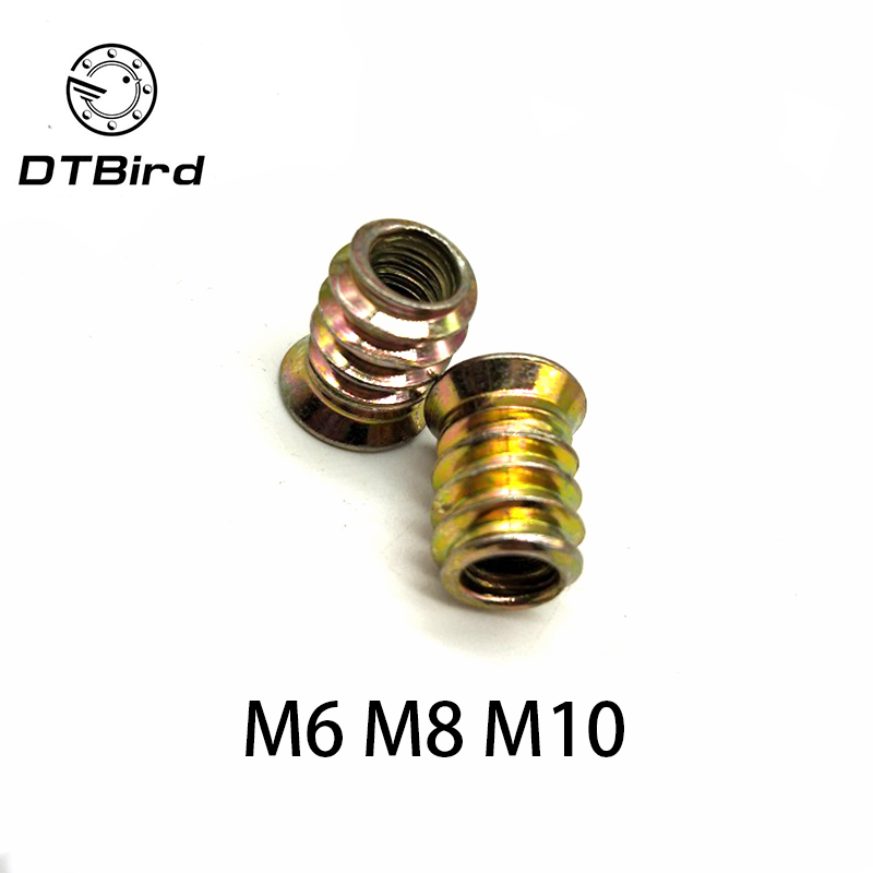 5/10pcs  M6 M8 M10 Carbon Steel Thread For Wood Insert Nut Flanged Hex Drive Head Furniture Nuts
