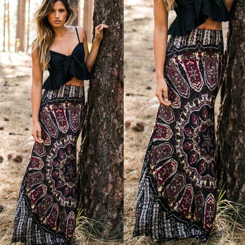 9de1f5945eac4d Sexy Womens Summer Vintage Boho Floral Print Long Maxi Evening Party Skirts  Beach High Waist Skirt Stylish Women Long Skirts