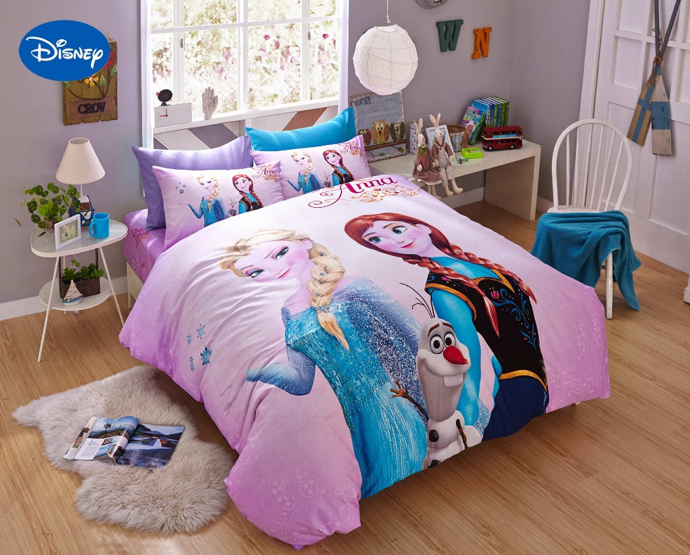 Professional Sale Disney Frozen Elsa Anna Character 3d Pink Bedding Set 100% Cotton Cartoon Duvet Cover Set Single Queen Size Kids Beddings Home & Garden Home Textile