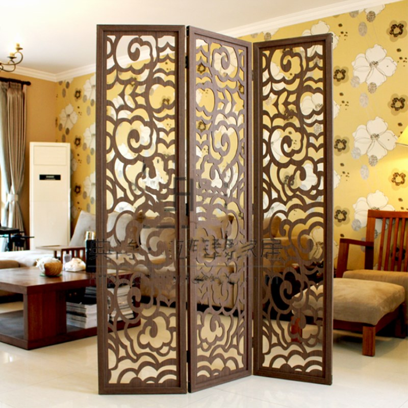 Modern Chinese Style Floor Screen Folding Wooden Cutout