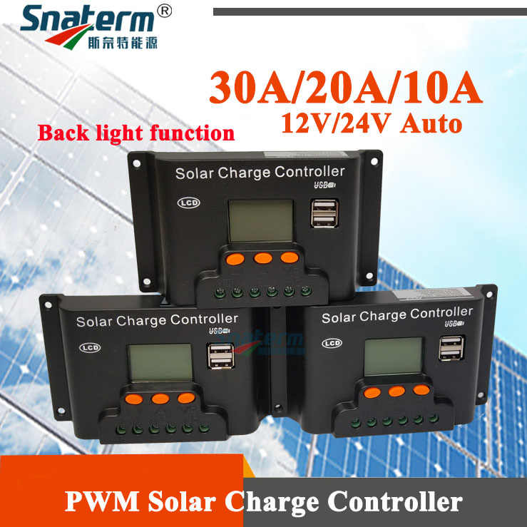 Back light function 30A 20A 10A 12V/24V Auto PWM Solar Charge Controller with Dual USB 5V Output LCD PV Solar Regulator