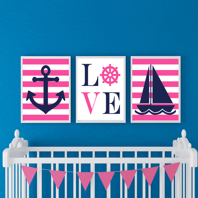 Anchor Love Sail Boat Canvas Painting Hot Pink Blue Nursery Art Nautical Poster Wall Picture For