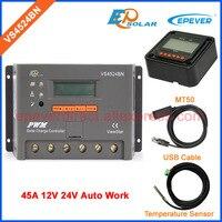 Солнечное зарядное устройство VS4524BN контроллер солнечной системы 45A 45amp USB кабель + кабель датчика 12 В/24 В MT50 дистанционного метр