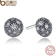 037b02905 BAMOER NEW Presents 925 Sterling Silver Cosmic Stars Stud Earrings Clear CZ  Fashion Jewelry Special Store PAS417