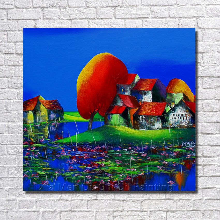 BA Oil Painting 100% Hand-painted Cartoon  Modern Design Canvas Painting House Landscape Oil Paintings On Canvas no Framed