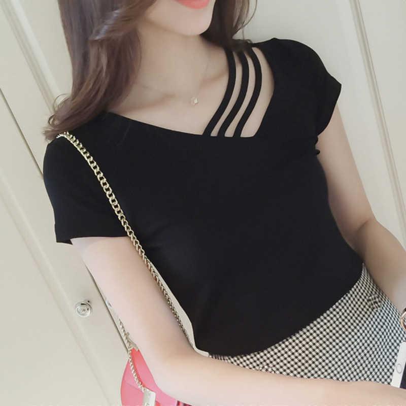207fb46714b 2019 для женщин Vogue футболки женские одежда футболка хлопок белый с открытыми  плечами Топы корректирующие корейский