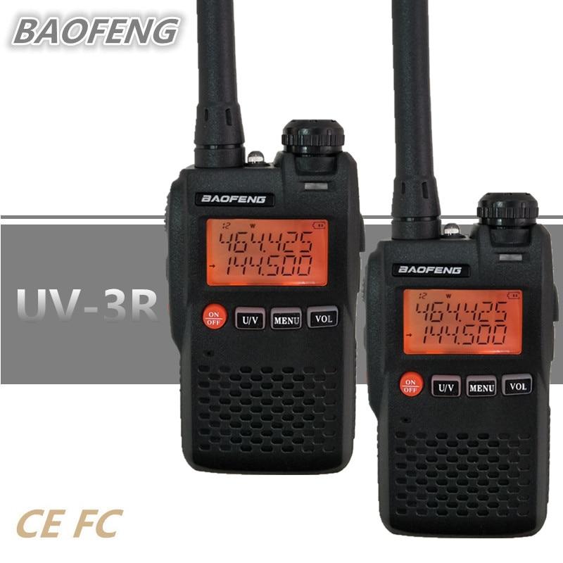2PCS BAOFENG UV-3R Mini Walkie Talkie Dual Band UHF VHF Amateur Ham CB Radio Station HF Transceiver UV3R UV 3R Woki Toki Hunting