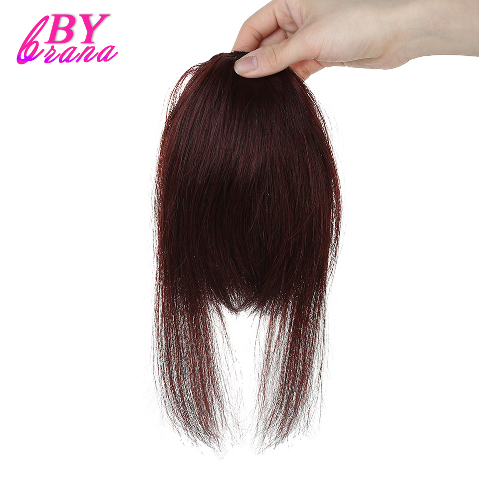 Bybrana 100% Human Remy Hair Bangs Long Hair Clip In Wine Red color Brazilian Hair Human Hair Extensions Free Shipping