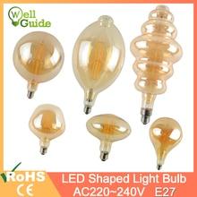edison bulb dimmable led E27 8W Retro lamp ST64/G95/G200 strange shape soft filament for living room AC220V 240V