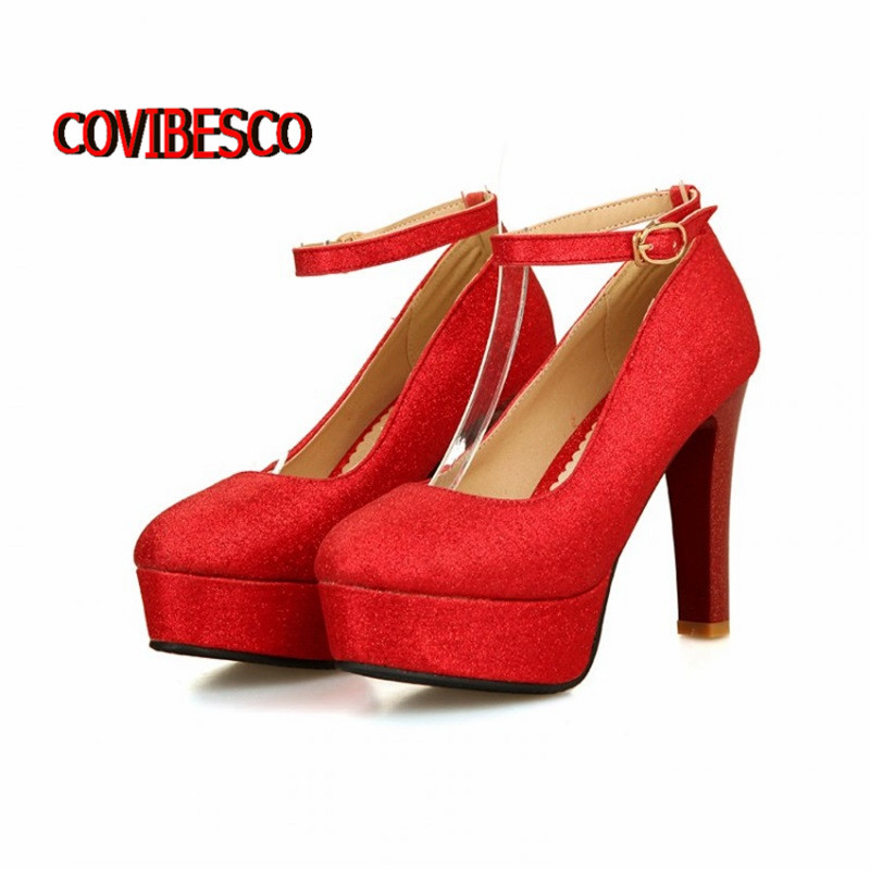 Euro size 34-50,New Women 11cm heel fashion wedding party high heels pumps ankle strap platforms Sapatos Femininos - COVIBESCO Ltd's store