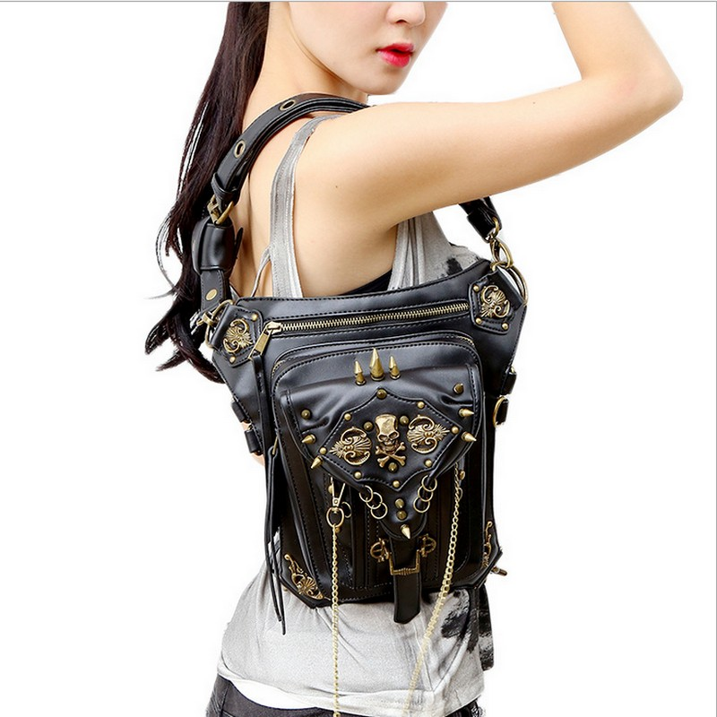 leather women&men bag carteras mujer bag Steam punk thigh Motor leg Outlaw Pack Thigh Holster Protected Purse Shoulder Purse